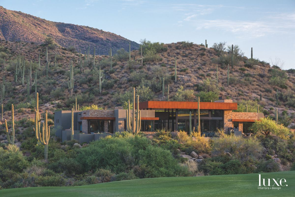 Cactus Mountain Surround Contemporary Arizona Home with Red Roof
