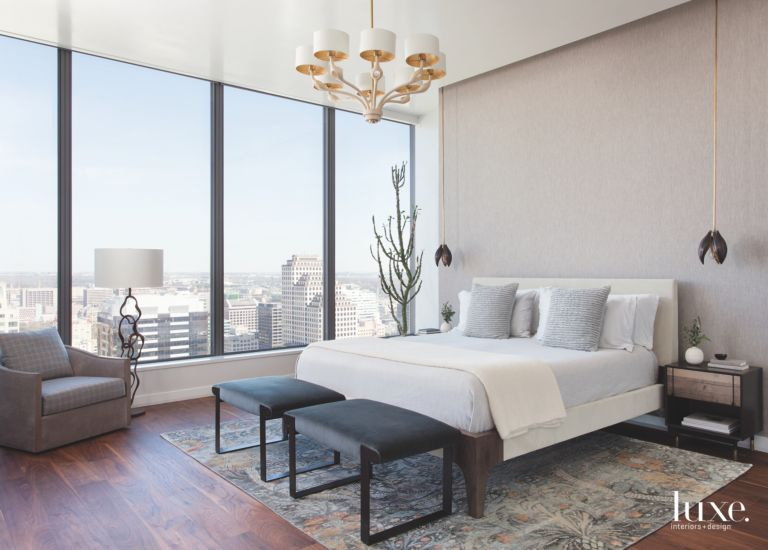 Large Window Gray Master Bedroom With Traditional Chandelier Lamp