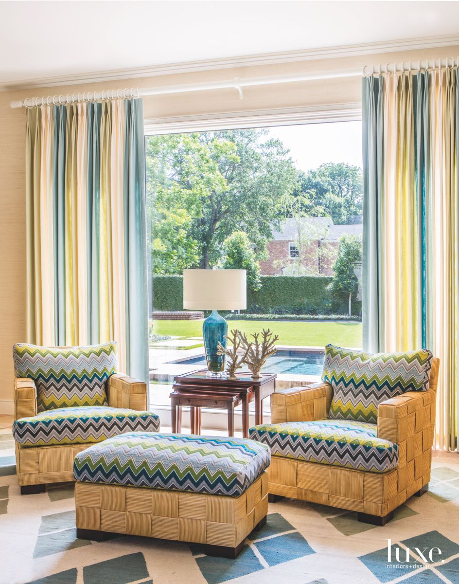 Zig Zag Chevron Fabric Chairs with Colorful Curtains and Diamond Patterned Carpet