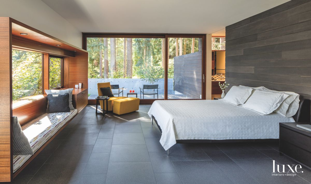 Window Surround Master Bedroom with Gray Feature Wall and Window Bench