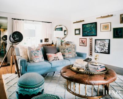 Multi Colored Eclectic Living Room Luxe