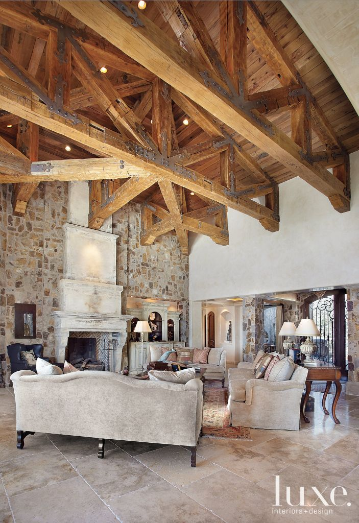 Traditional Cream Great Room With Salvaged Barn Beams