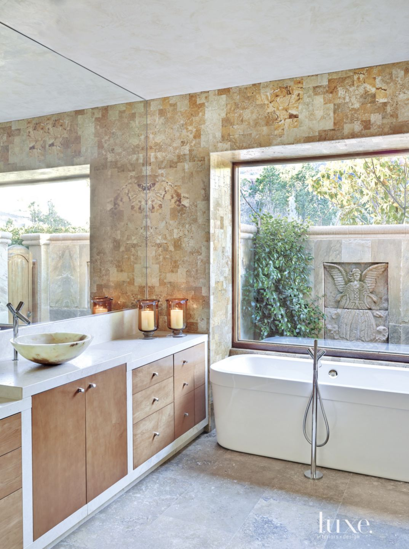 Mediterranean Travertine-Tiled Master Bath