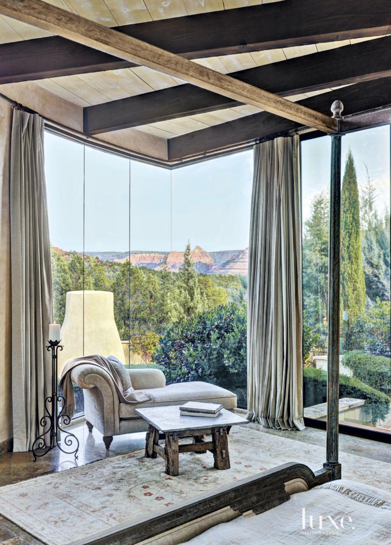 Mediterranean Master Bedroom Corner Window