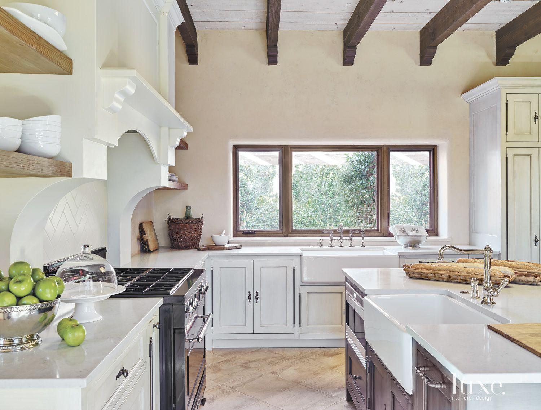 Mediterranean Cream Kitchen with Farmhouse Sinks