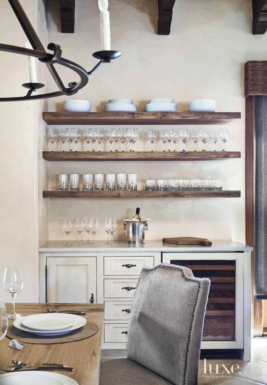 Mediterranean Cream Kitchen Open Shelves