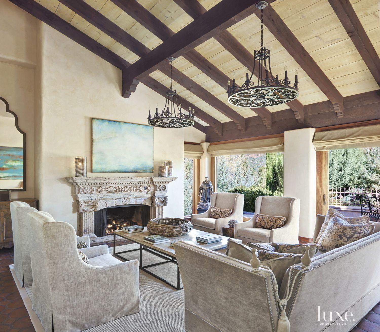 Mediterranean Cream Living Room with Velvet Furnishings