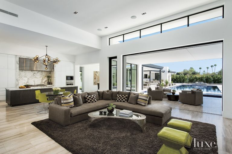 Modern White Living Room With Lime Green Accents