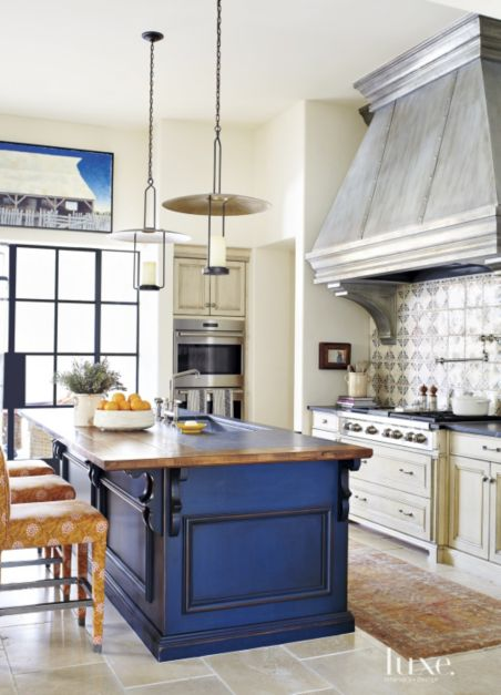 Mediterranean Cream Kitchen With Blue Island Luxe