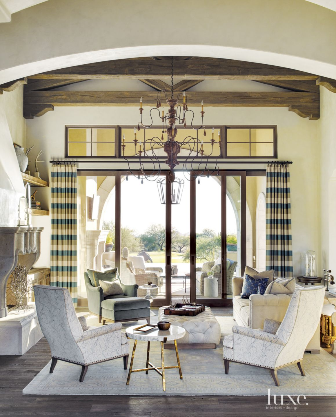 Mediterranean Cream Living Room with Wool-and-Silk Rug