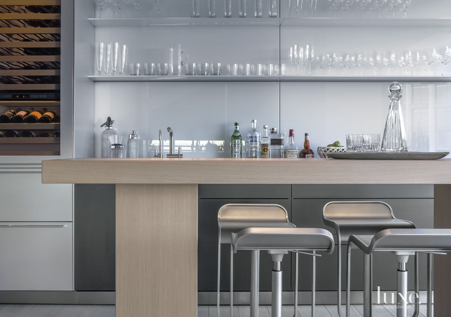 Contemporary Silver Bar Area with Piston Stools