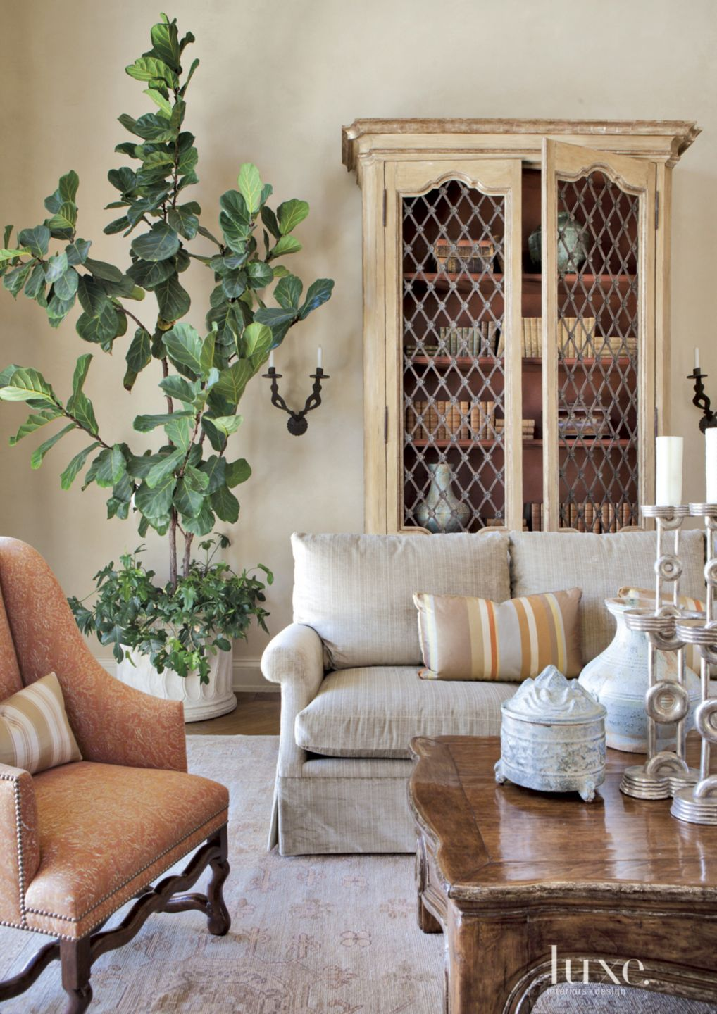 Mediterranean Cream Living Room Detail with Antique Shelving