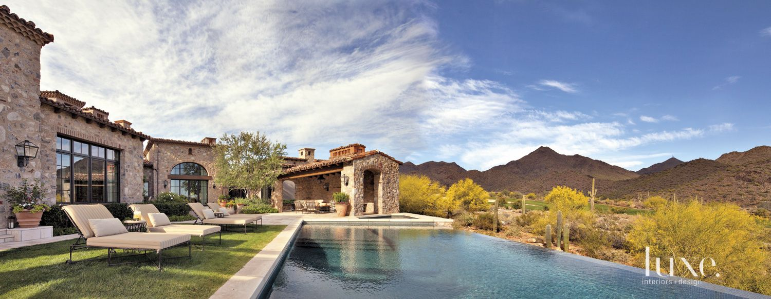 Mediterranean Neutral Exterior with Infinity Pool