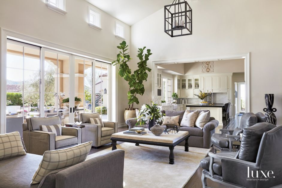 Traditional Cream Living Room With Silver Gray Leather