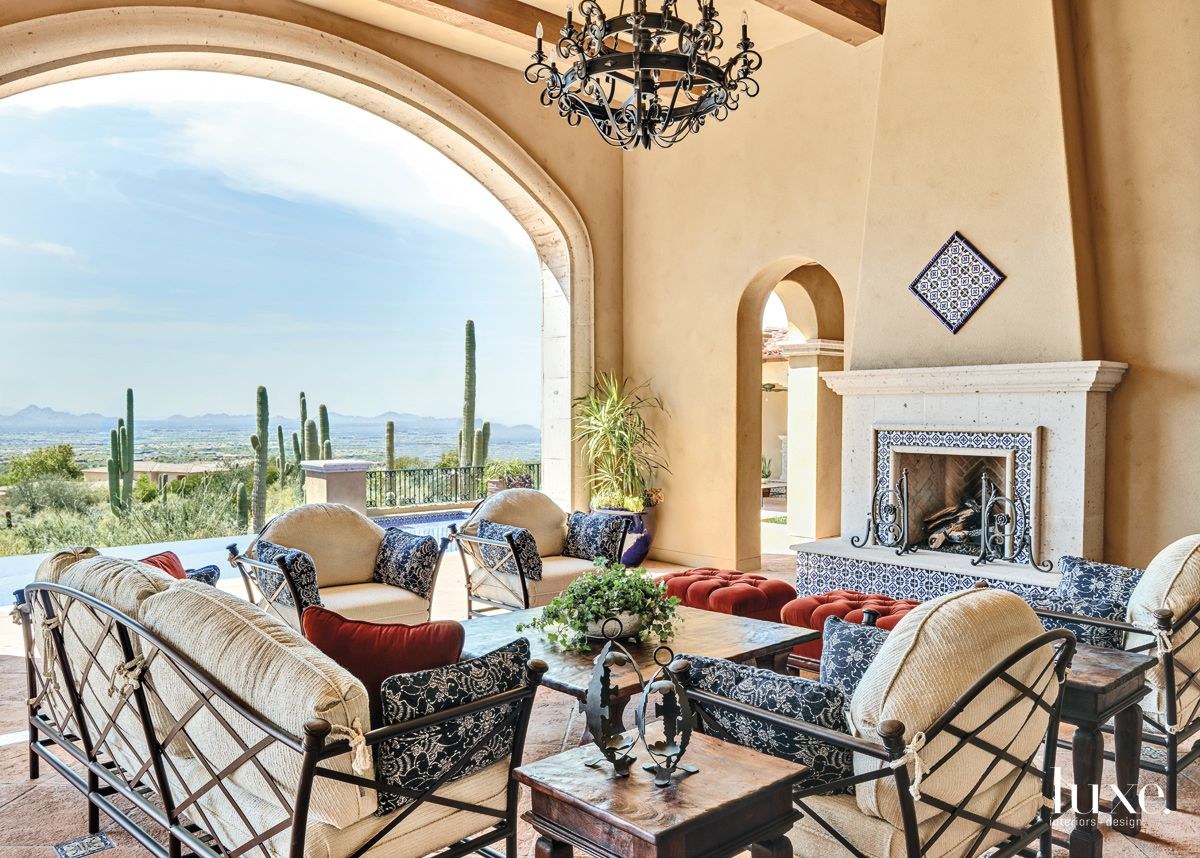 Traditional Neutral Outdoor Living Room with Iron Chandelier
