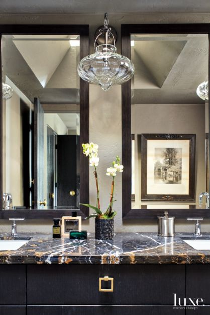 Transitional Neutral Master Bathroom With Lacquered Black