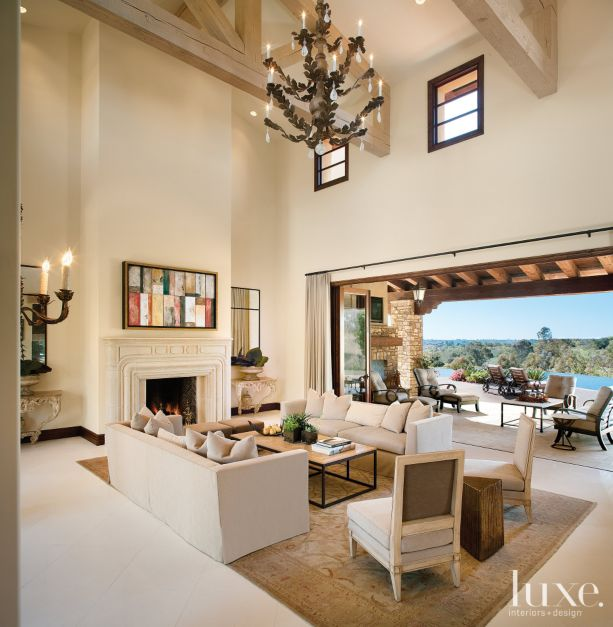 Transitional White Great Room With Double Height Ceiling