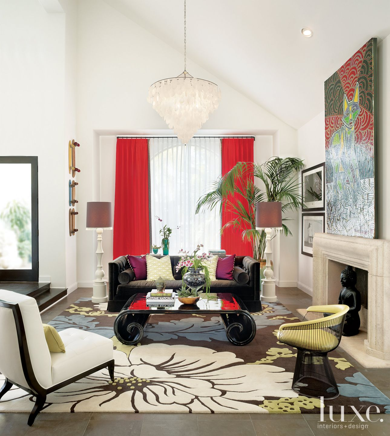 Eclectic White Living Room with Slanted Ceiling