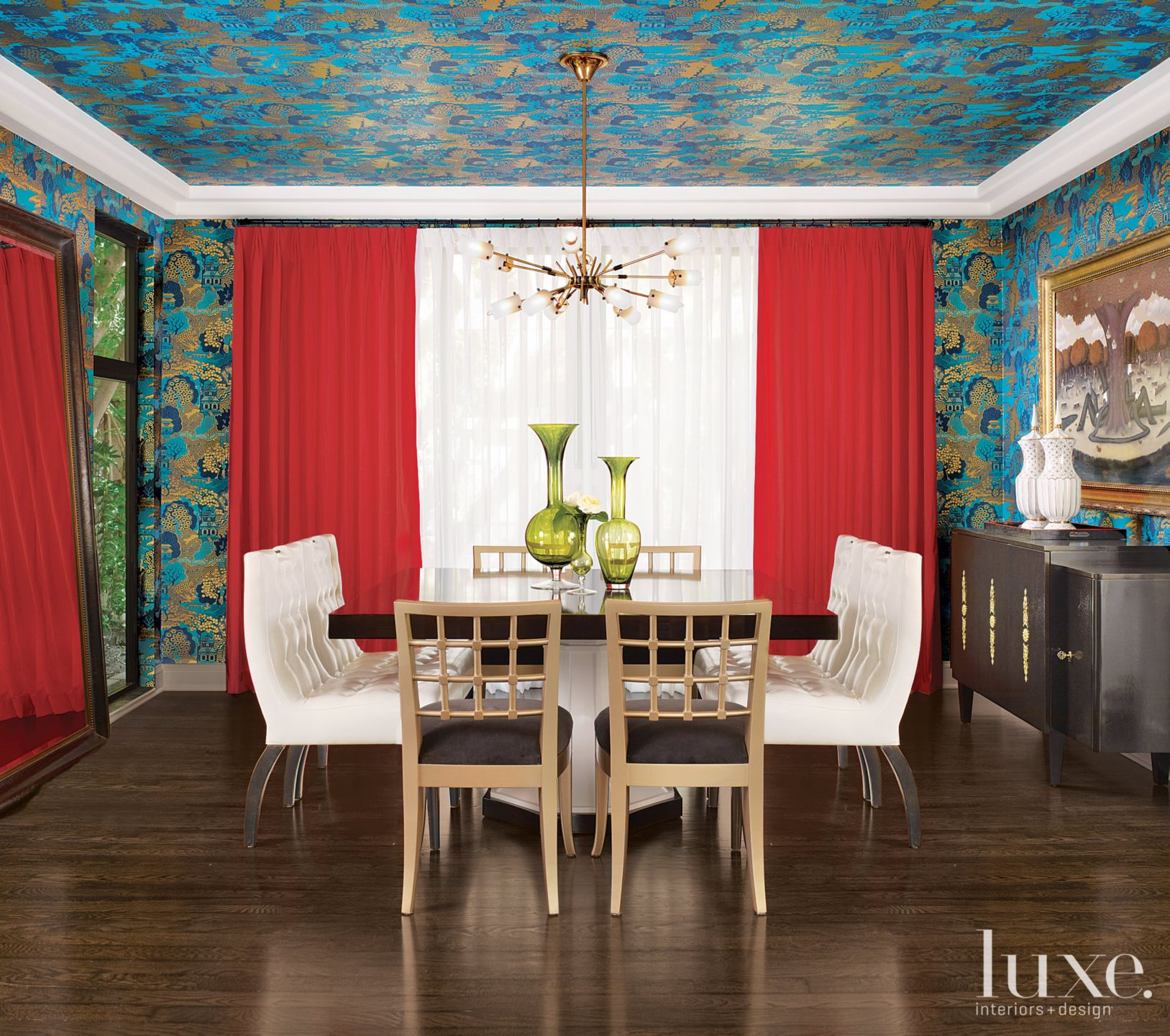 Eclectic Teal Dining Room with Persimmon Drapes