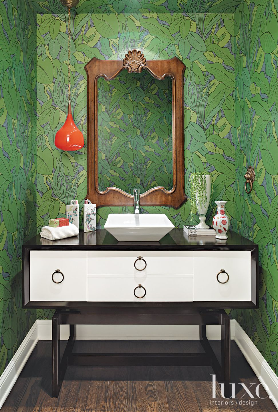 Eclectic Green Bathroom with Glass Pendant