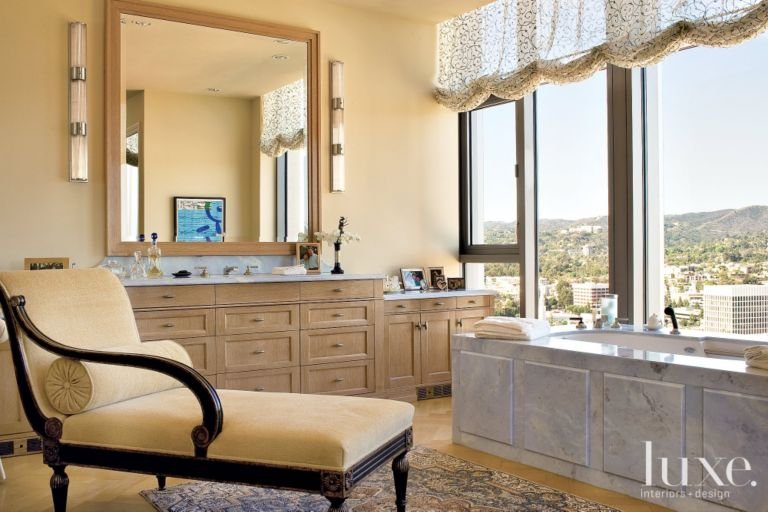 Eclectic Cream Bathroom With Chaise Lounge Chair