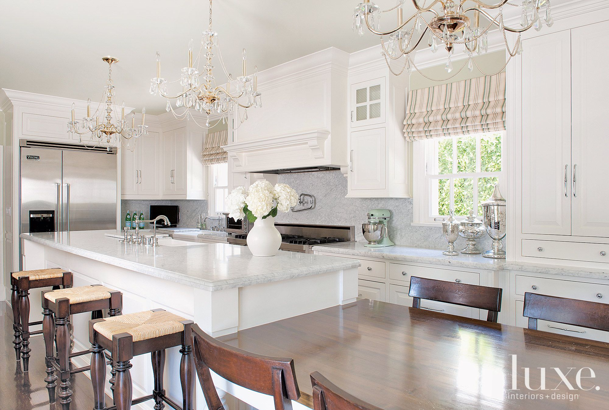 Traditional White Kitchen with Custom Butcher-Block Table