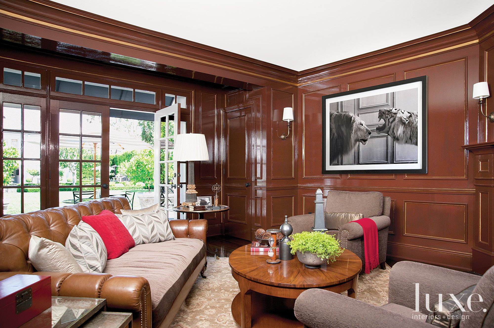 Traditional Brown Library with Leather Sofa