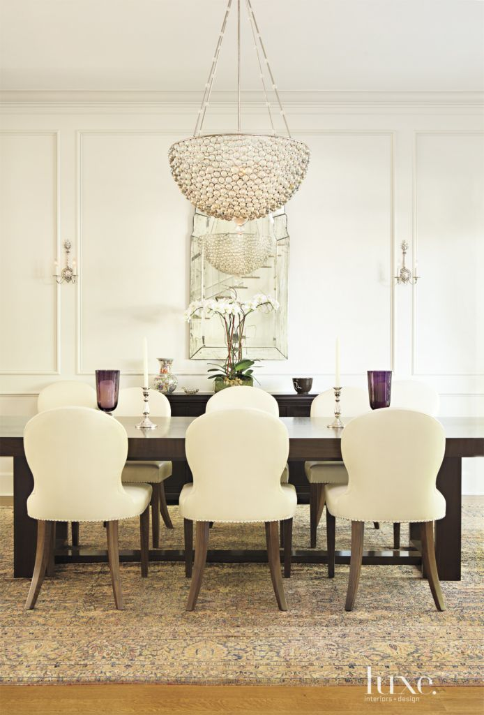 Contemporary white dining room with oyster chandelier luxe contemporary white dining room with oyster chandelier luxe interiors design mozeypictures Choice Image
