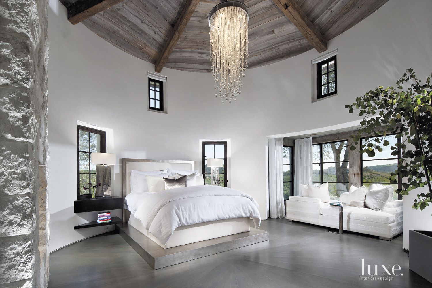 Transitional White Master Bedroom