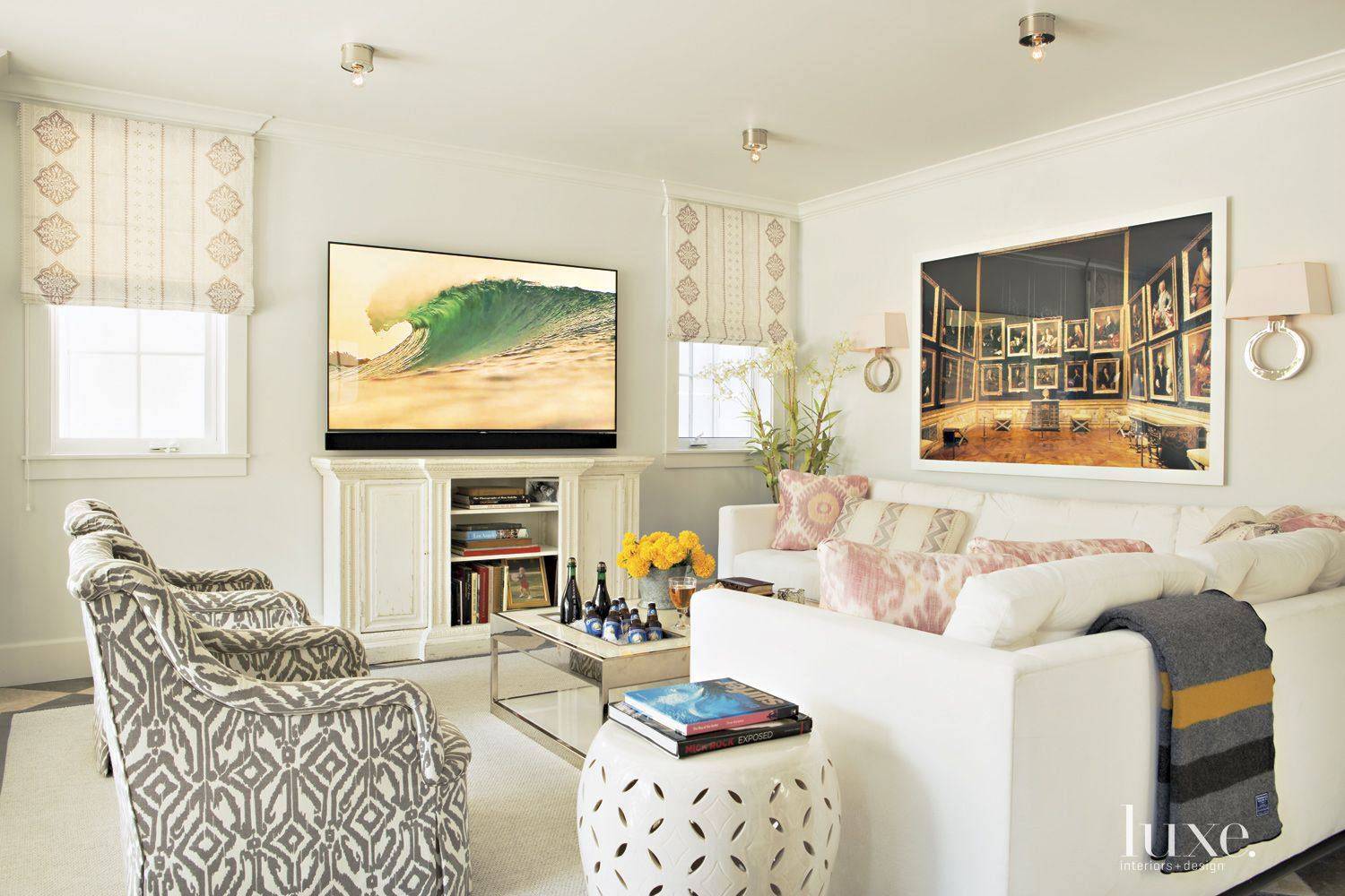 Contemporary Cream Family Room with Printed Armchairs