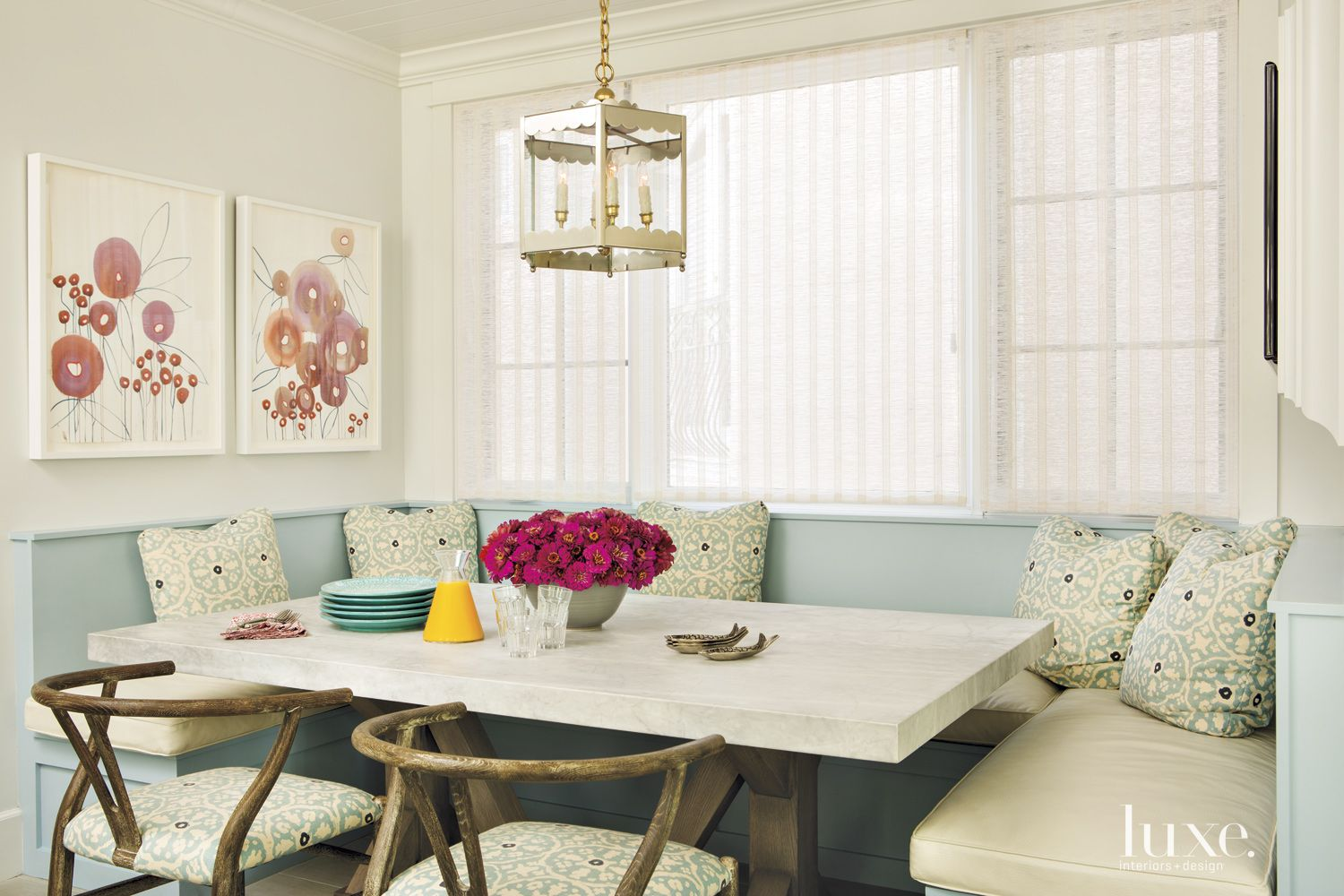Contemporary Pale Blue Banquette