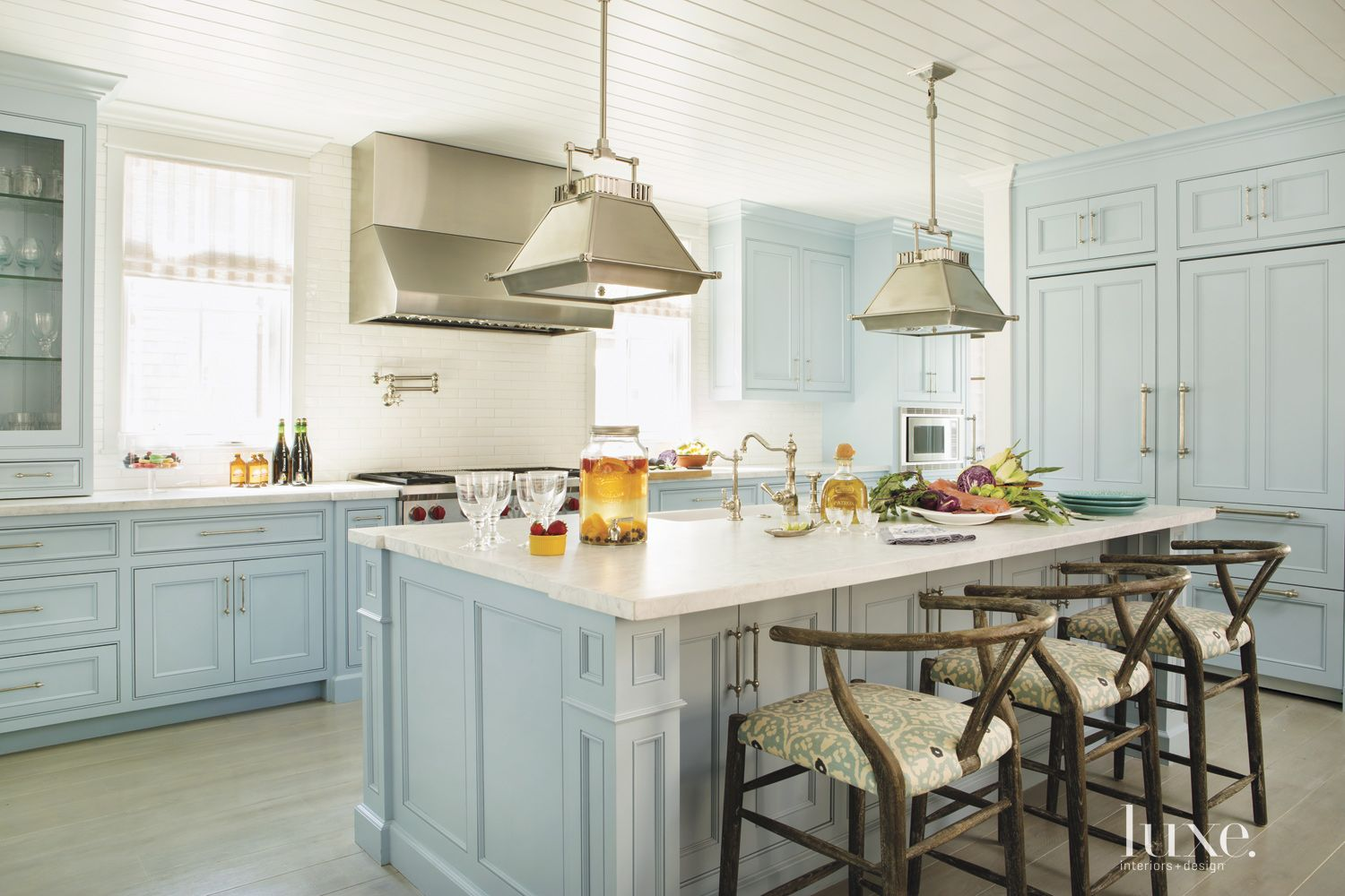 Contemporary Pale Blue Kitchen