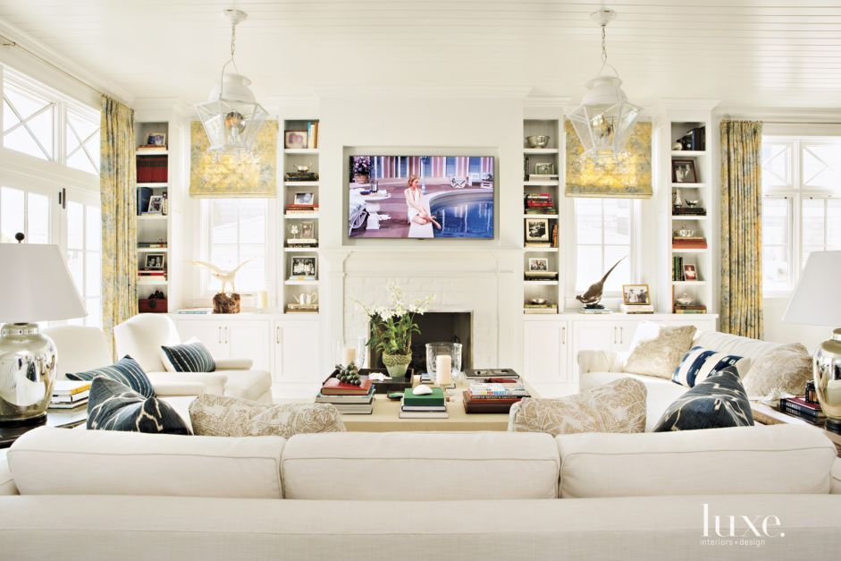 Contemporary Cream Living Room with Beadboard Ceiling - Luxe ...