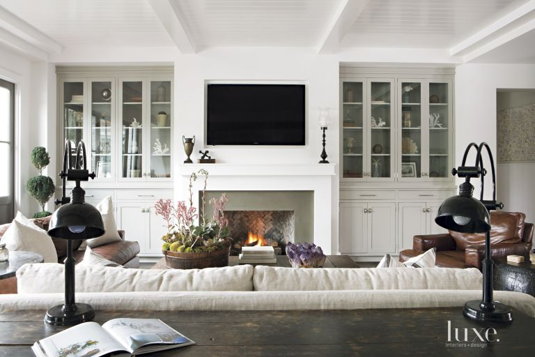 Contemporary White Farmhouse-Style Living Room - Luxe Interiors + Design
