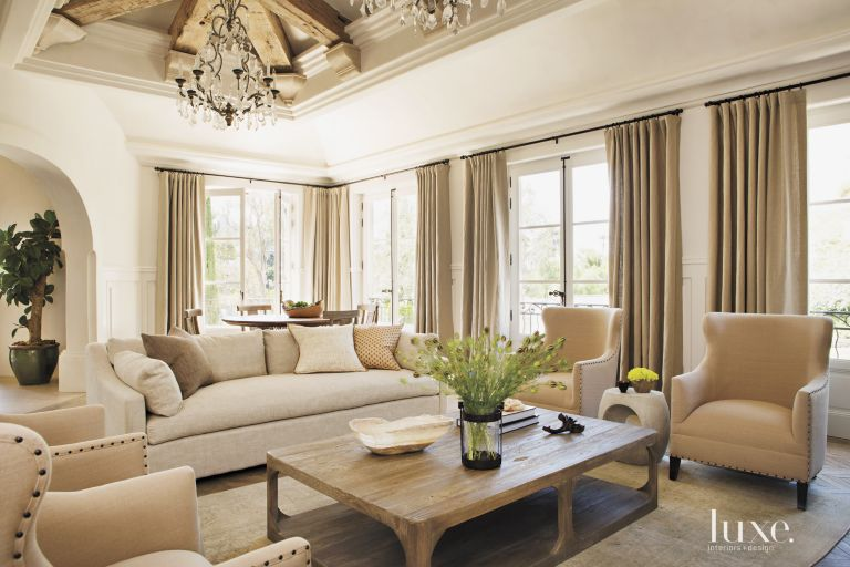 Contemporary Cream Living Room with Exposed Beams - Luxe Interiors + ...
