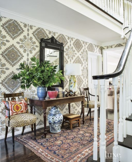 Entryway Wallpaper Ideas: Eclectic Multi-Colored Foyer With Patterned Wallpaper