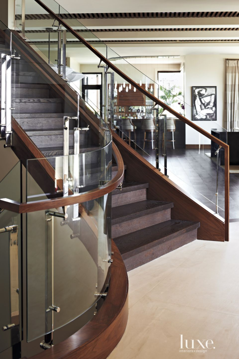 Modern Walnut-and-Glass Sculptural Staircase