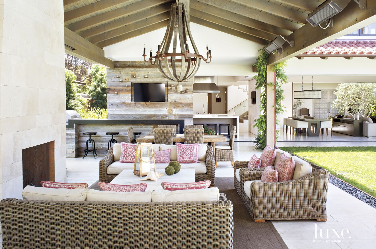 Contemporary Outdoor Great Room with Reclaimed Wood Wall
