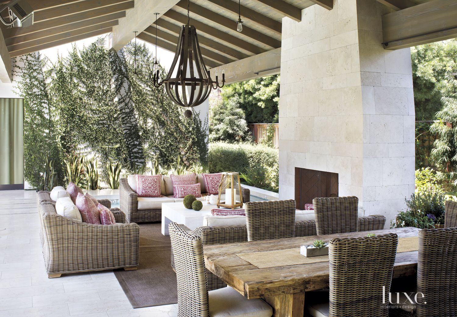 Contemporary Outdoor Great Room with Wicker Furniture