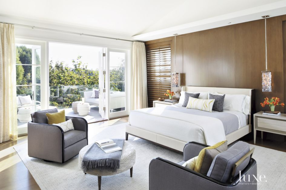 Contemporary Cream Master Bedroom with Porch - Luxe ...