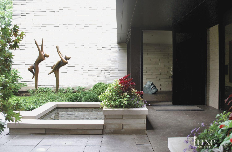 Modern Limestone Front Walkway
