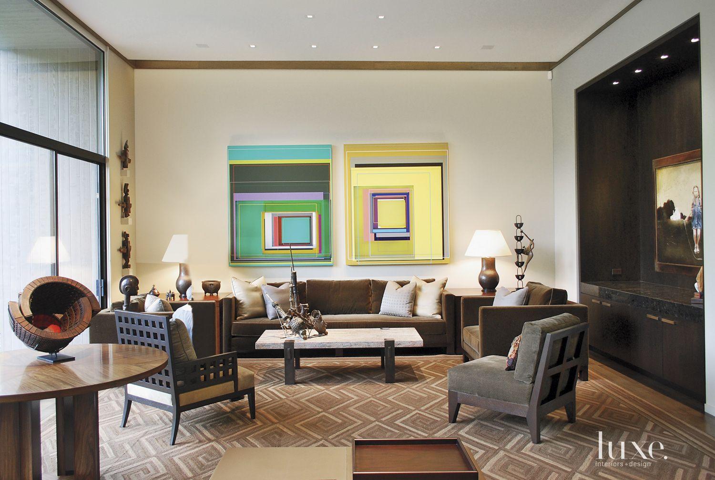 Contemporary Cream Living Room with Modern Art