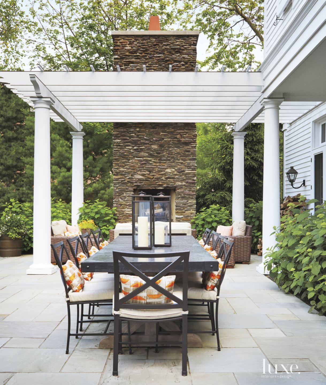Contemporary Patio with Dreamy Backyard Landscape