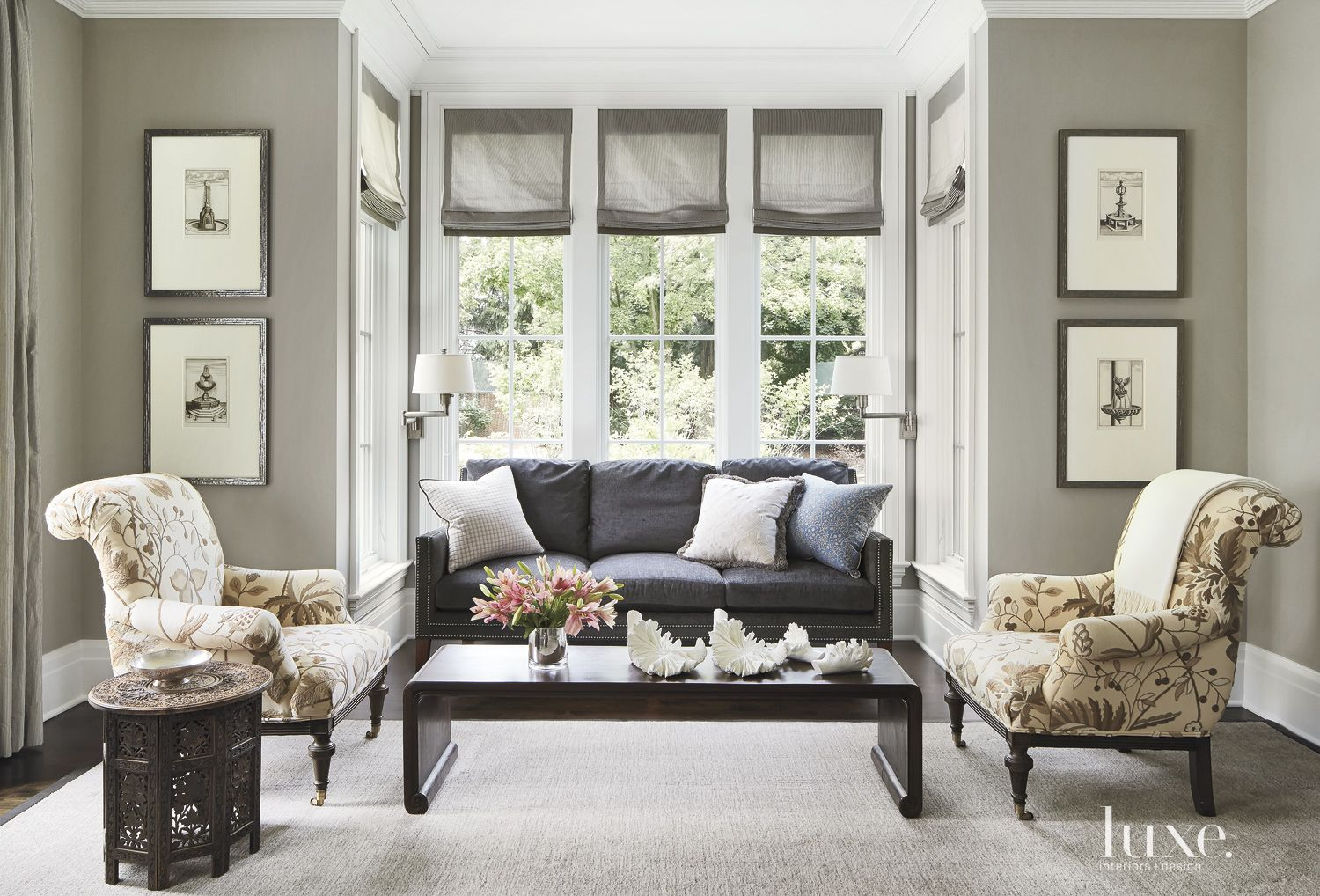 Traditional Gray Living Room with Playful Print Armchairs