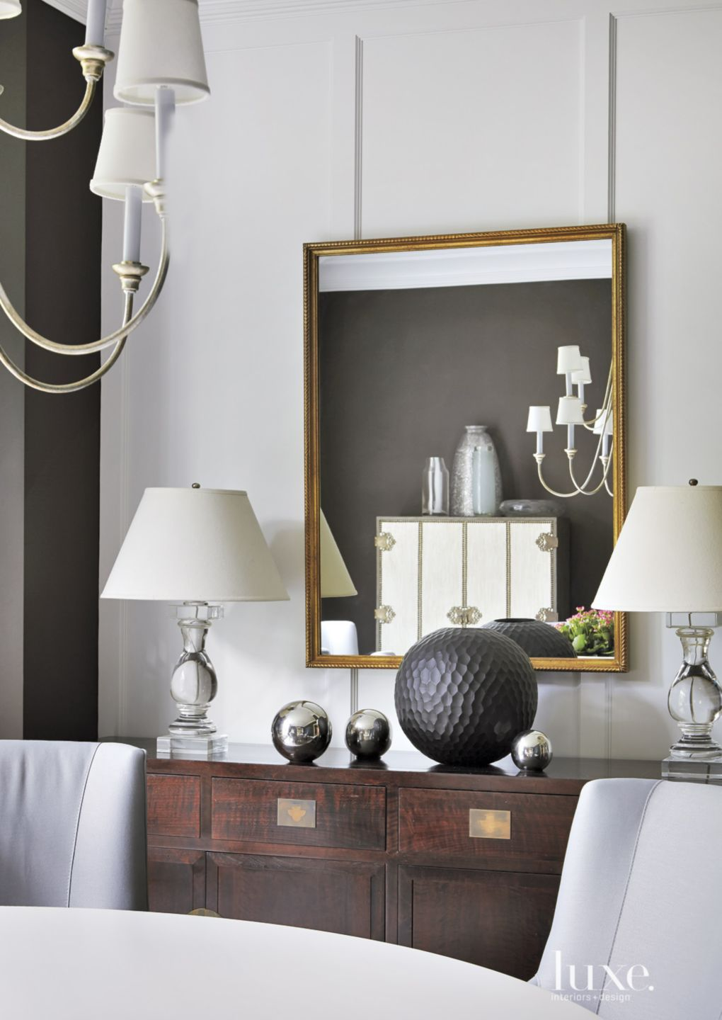 Traditional Gray Dining Room with Contemporary Decor