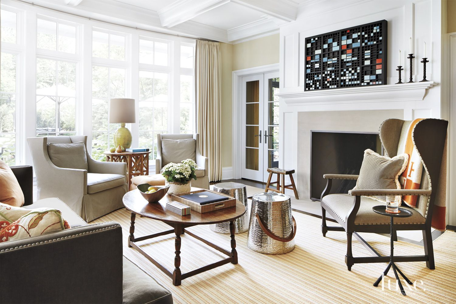 Traditional White Living Room with Modern Accents