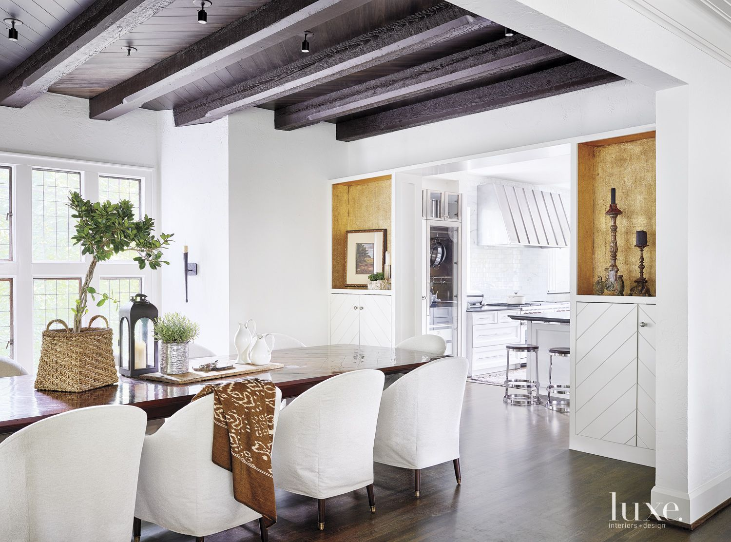 Transtional White Dining Room with Black-Stained Ceiling