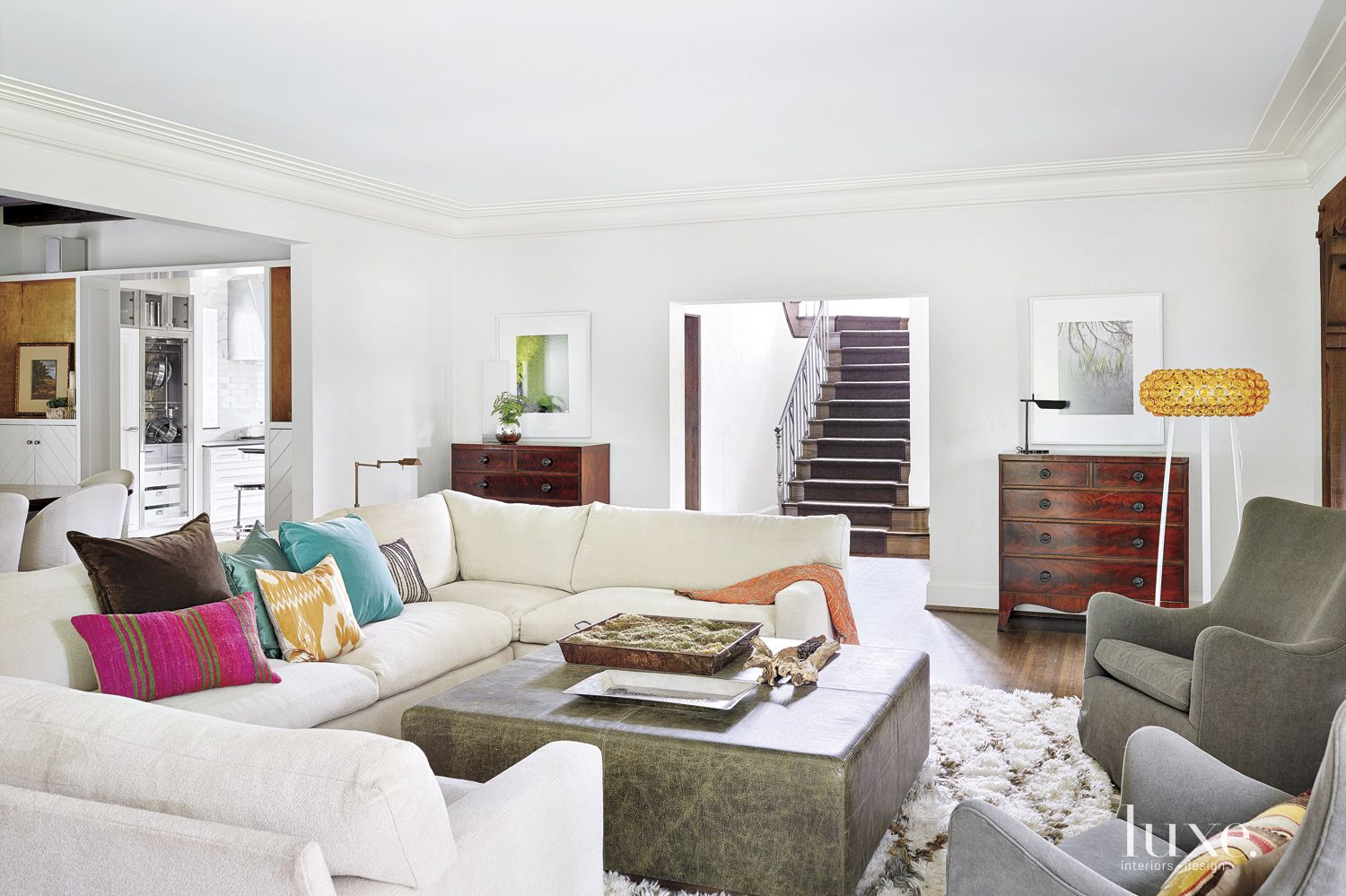 Transitional White Great Room