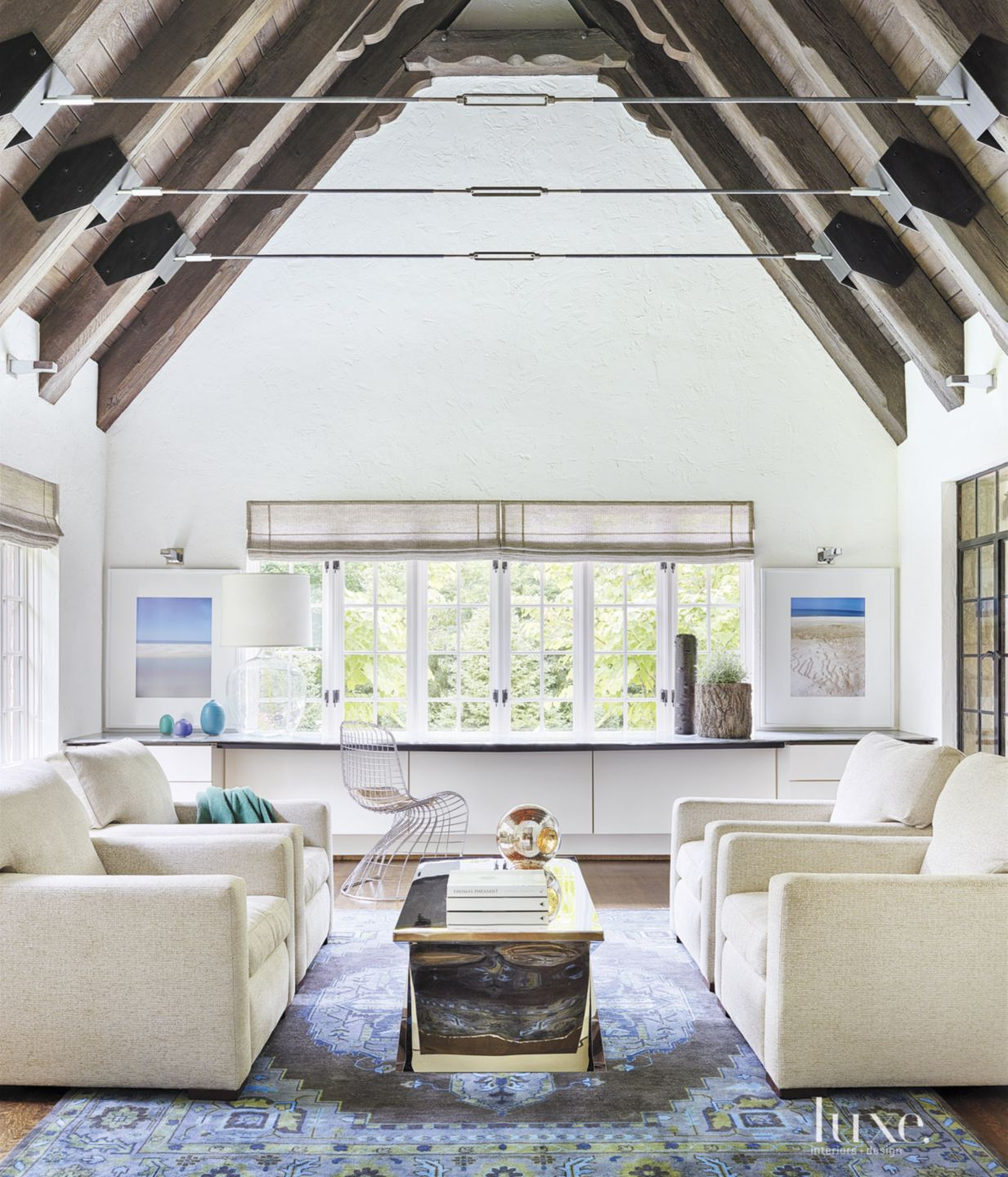 Transitional White Sitting Room with Vaulted Ceiling
