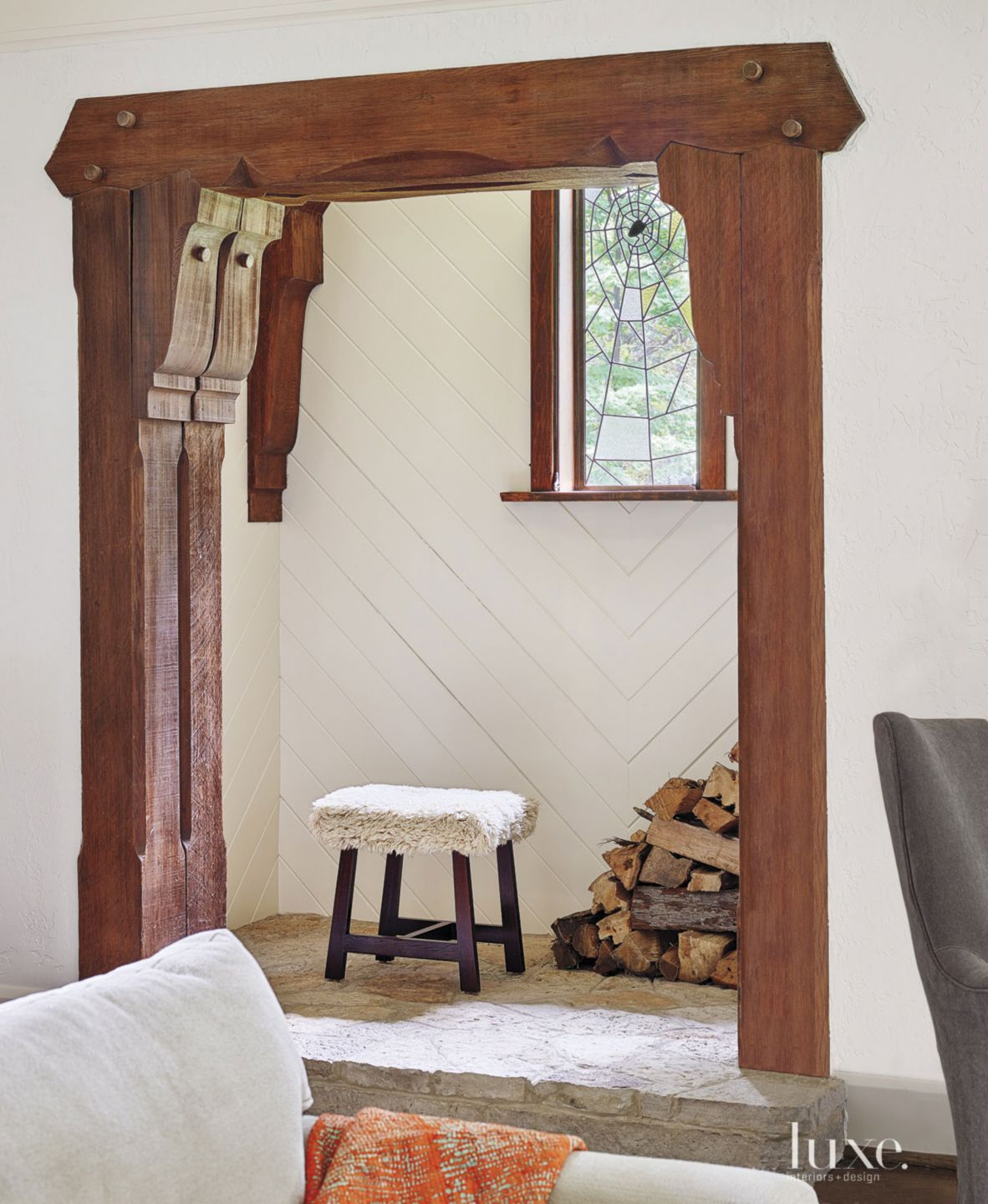 White Transitional Great Room Alcove